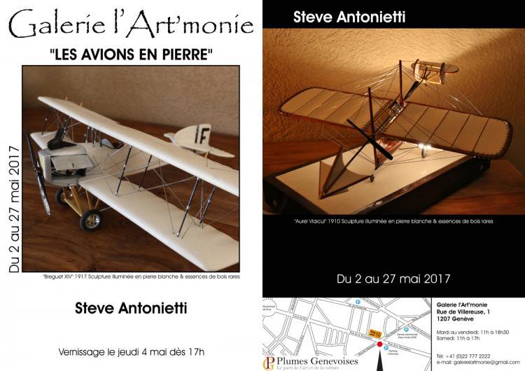Invitation a l 27exposition des avions en pierre de l 27artiste steve antonietti a la galerie l 27art 27monie